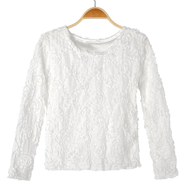 New Women Wild Lace 3D Rose Flower Shirt Lady Jumper Pullover Blouse Sweaters