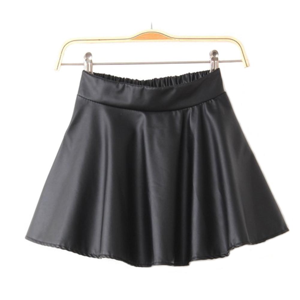 Short Dress Womens Black Red Faux Leather Mini Skirt High Waist Pleated Skater