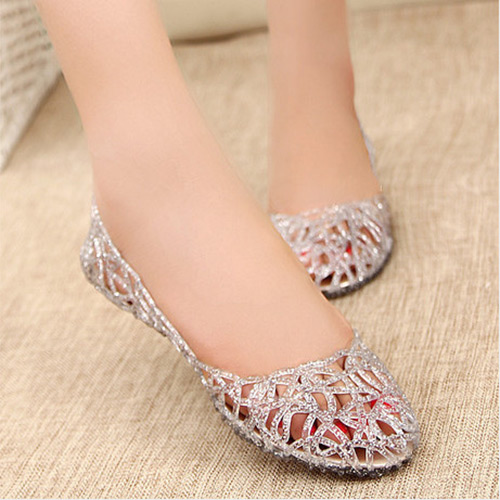 Summer New Women Girl Ventilate Crystal Pebble Hollow Bird's Nest Sandal  Shoes