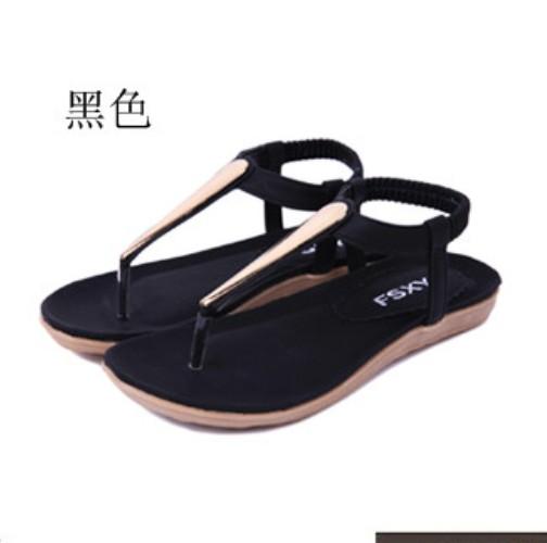 New Summer Women Lady Girl Metal Ethnic sandals Flat Heel T-Strap  Sandel