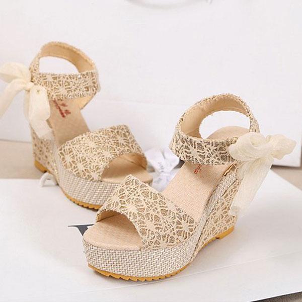Summer Womens High Heel Platform Sandals Bowknot Ankle Lace Strap Shoes Beige