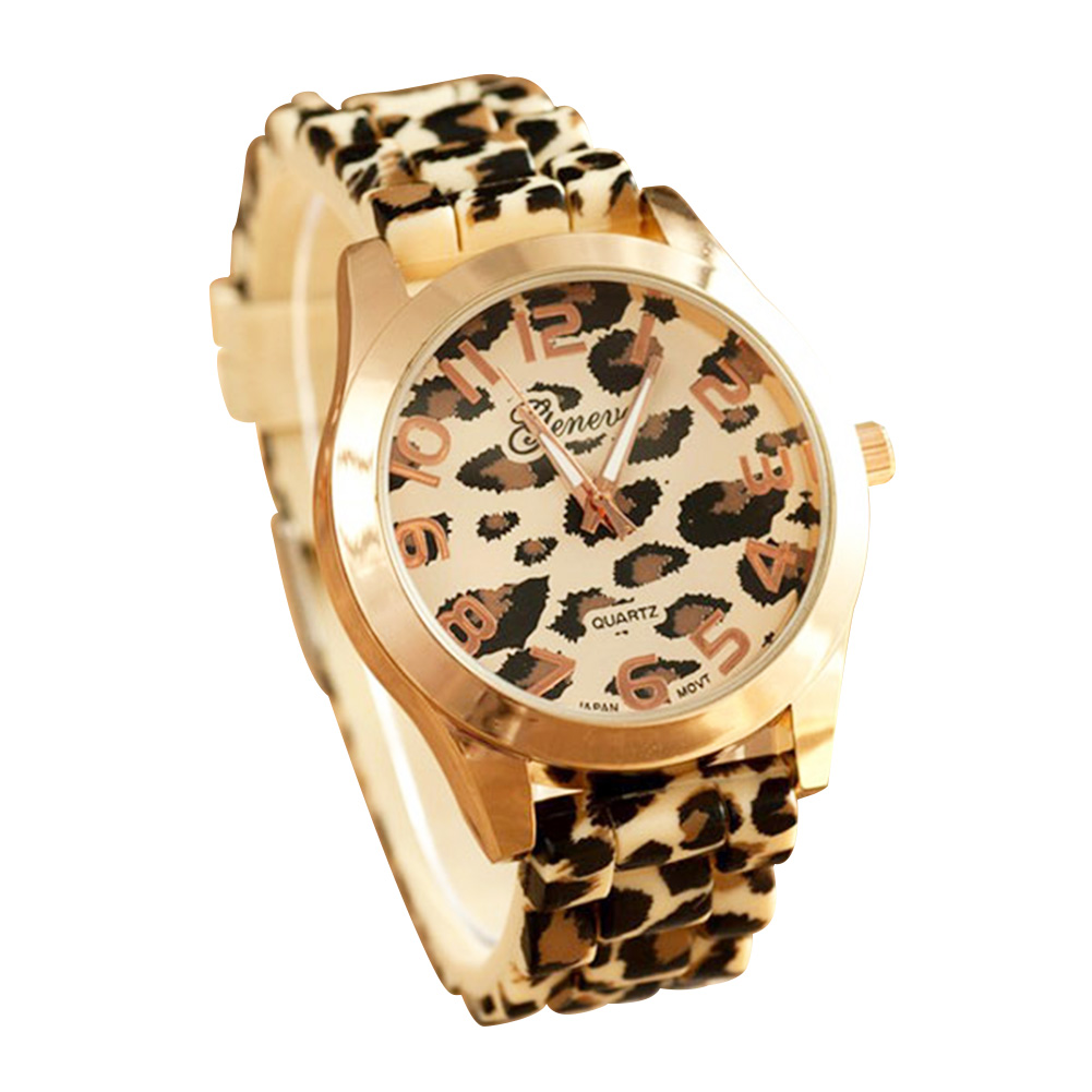 Round Dial Wrist Watch Silicon Leopard Printed Strap Girl Women Lady Jewelry