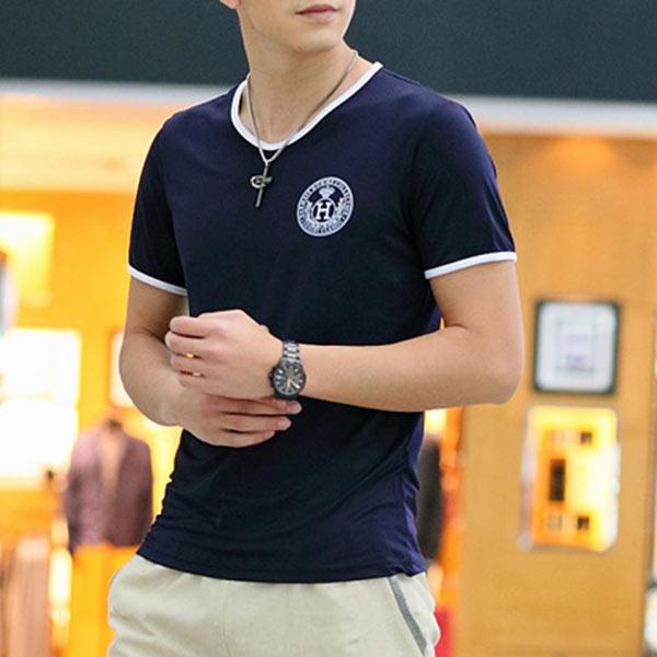 Hot Summer Fashion Men Milk Silk Short Sleeves T-Shirts Neck Top Blouse S M