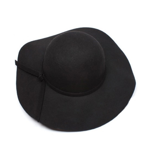 New Stylish Women's Wide Brim Wool Felt Bowler Fedora Hat Floppy Sun Beach Cap