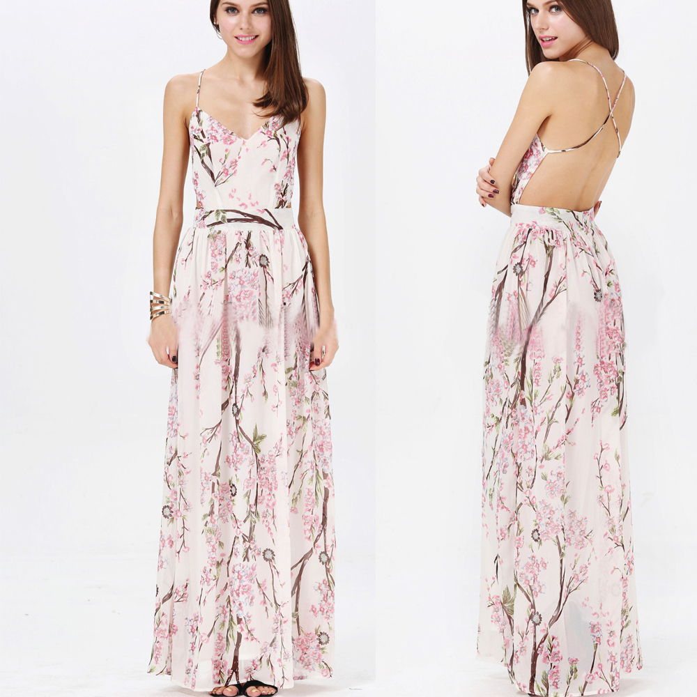 Sexy Women Sleeveless Floral Print Backless Polyester Elegant Party Long Dress