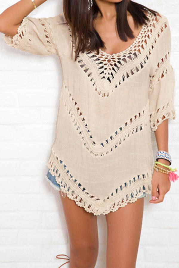Summer Women Boho Loose Beach Bohemian Coat Mini Dresss Tops Cover Up Cape