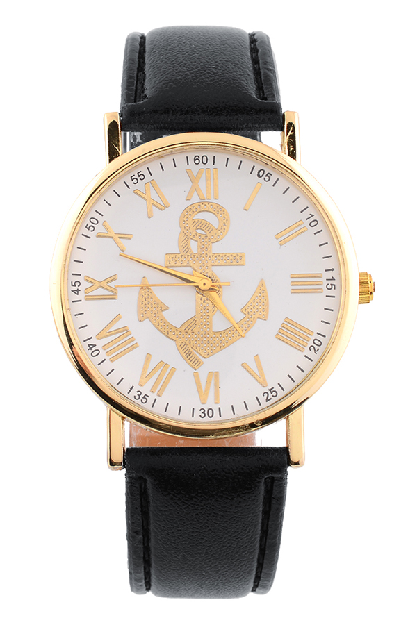 Geneva Elegant Women PU Leather Roman Numerals Anchor Watch Analog Delightful