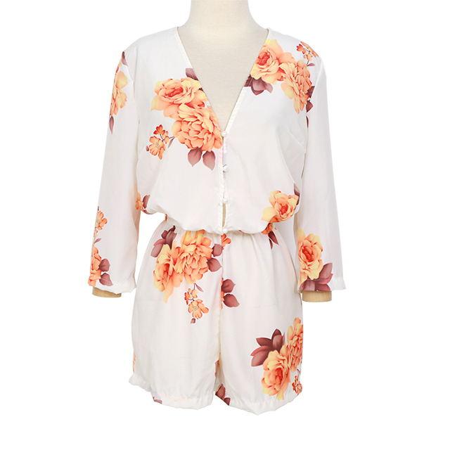 Sexy Women White Floral Mini Romper Playsuit Jumpsuit Shorts Beach Dress
