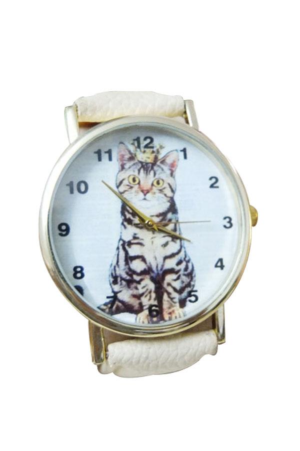 Trendy Quartz Cat Watch Leather Band Wristwatch Dress Ornament Student Watch