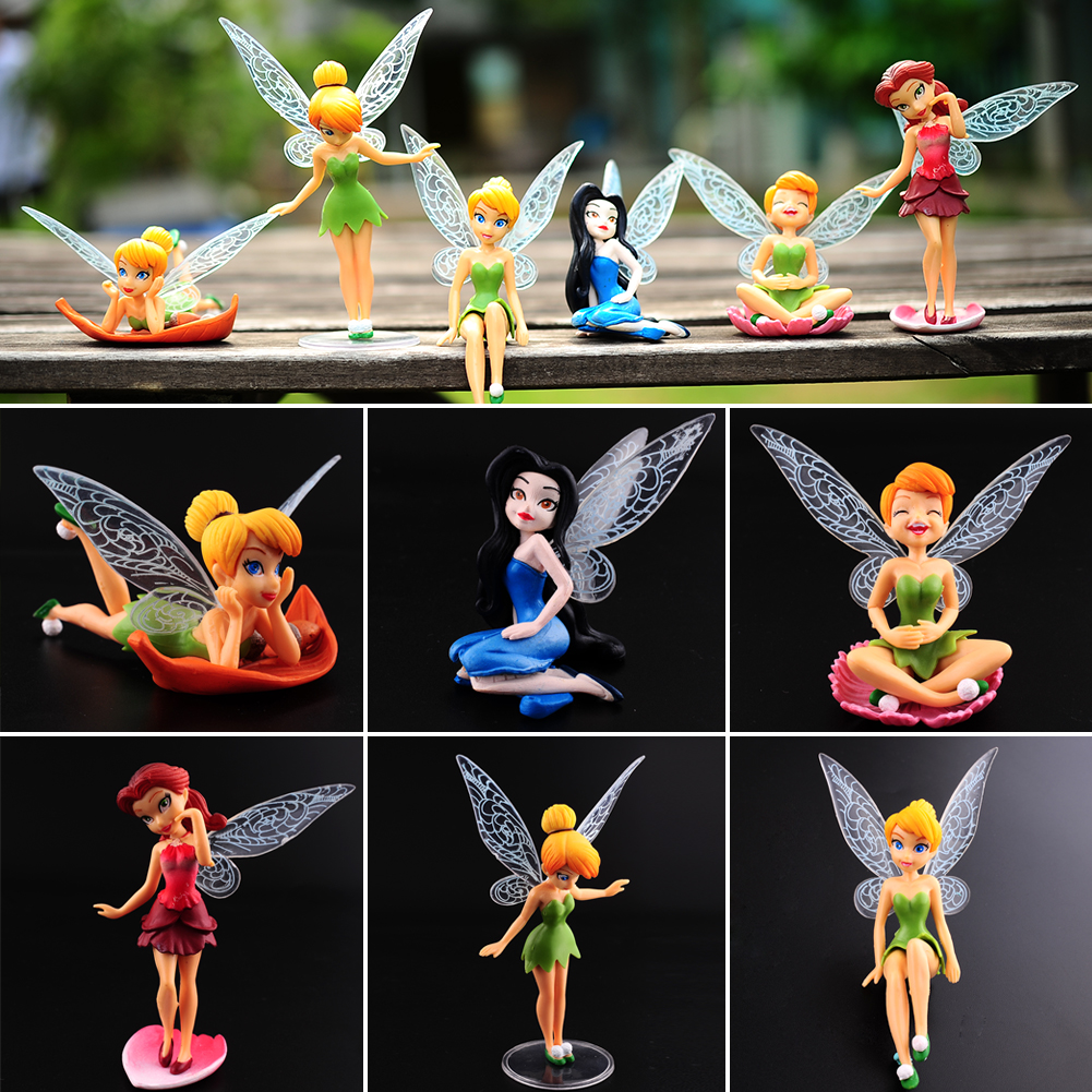6 x tinkerbell tinker bell fairies figuren kuchendeckel dekor puppen spielzeug i ebay. Black Bedroom Furniture Sets. Home Design Ideas