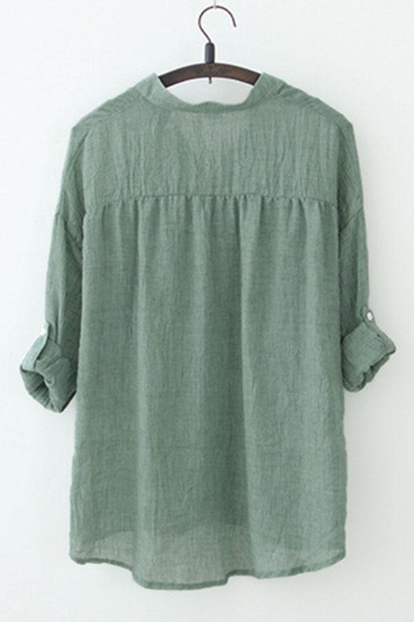 Women loose casual fashion short sleeve v neck button down for Best short sleeve button down shirts reddit
