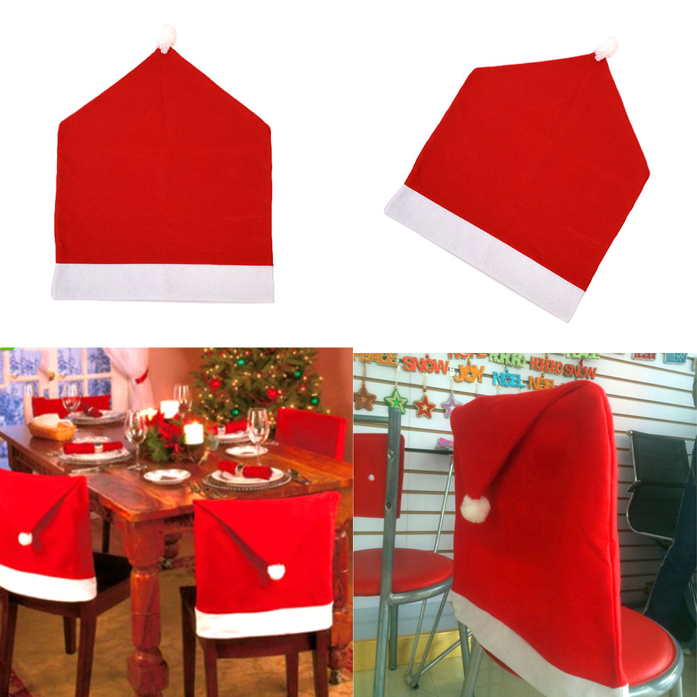 santa red hat chair covers christmas decorations dinner