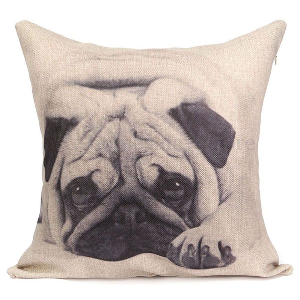 Decorative Pillows Dog : Animal Pug Dog Square Cushion Cover Decorative Throw Sofa Pillow Case Kids Funny eBay