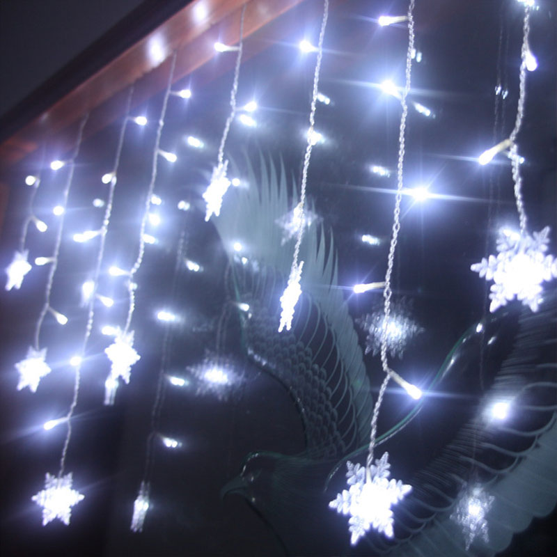 hot xtmas led snowflake tree hanging curtain fairy light. Black Bedroom Furniture Sets. Home Design Ideas