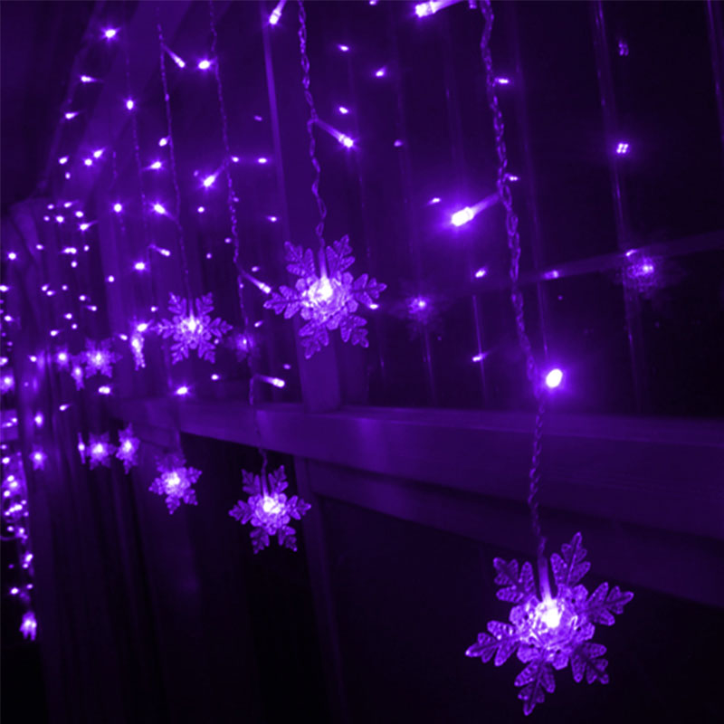 hot xmas led snowflake tree hanging curtain fairy light. Black Bedroom Furniture Sets. Home Design Ideas