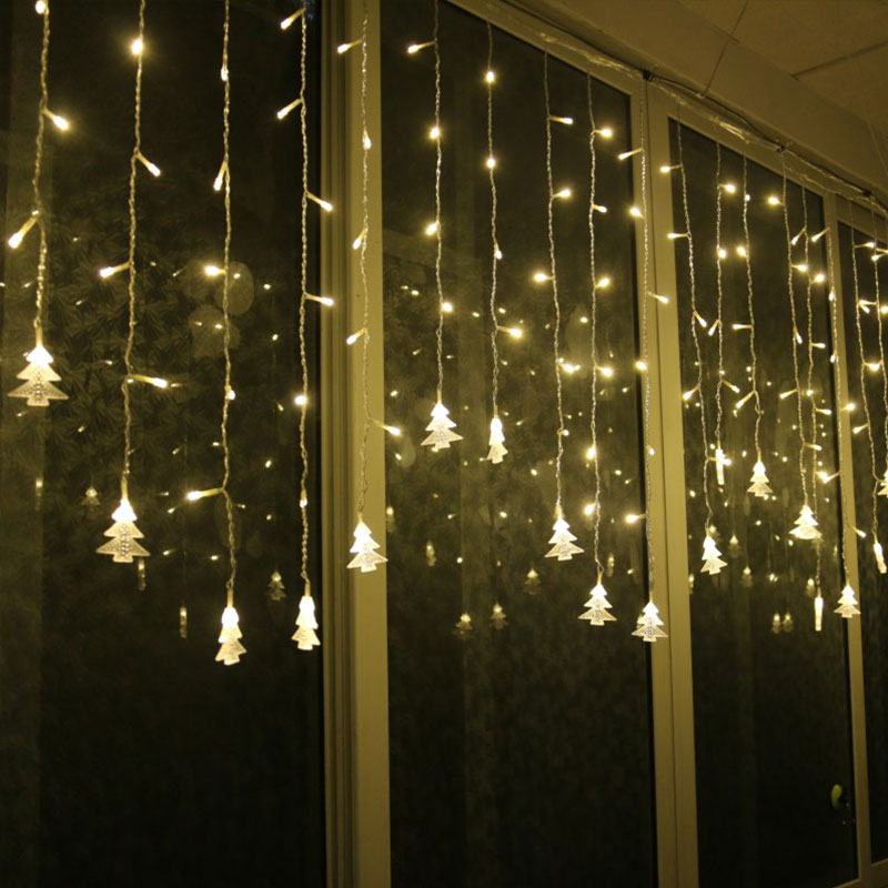christmas led snowflake tree hanging curtain fairy light. Black Bedroom Furniture Sets. Home Design Ideas