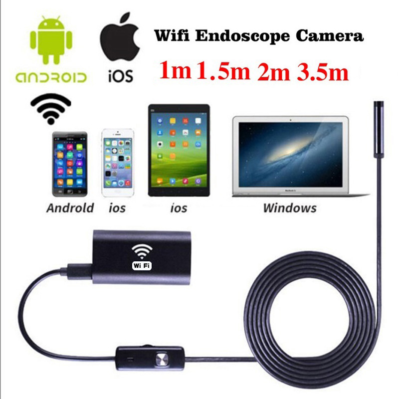 Wifi endoscope waterproof borescope inspection camera usb for Microcamera wifi per iphone e android