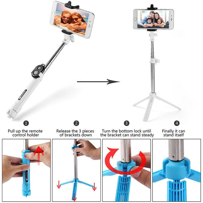 bluetooth monopod telescopic selfie stick for mobile phone iphone camera holder ebay. Black Bedroom Furniture Sets. Home Design Ideas