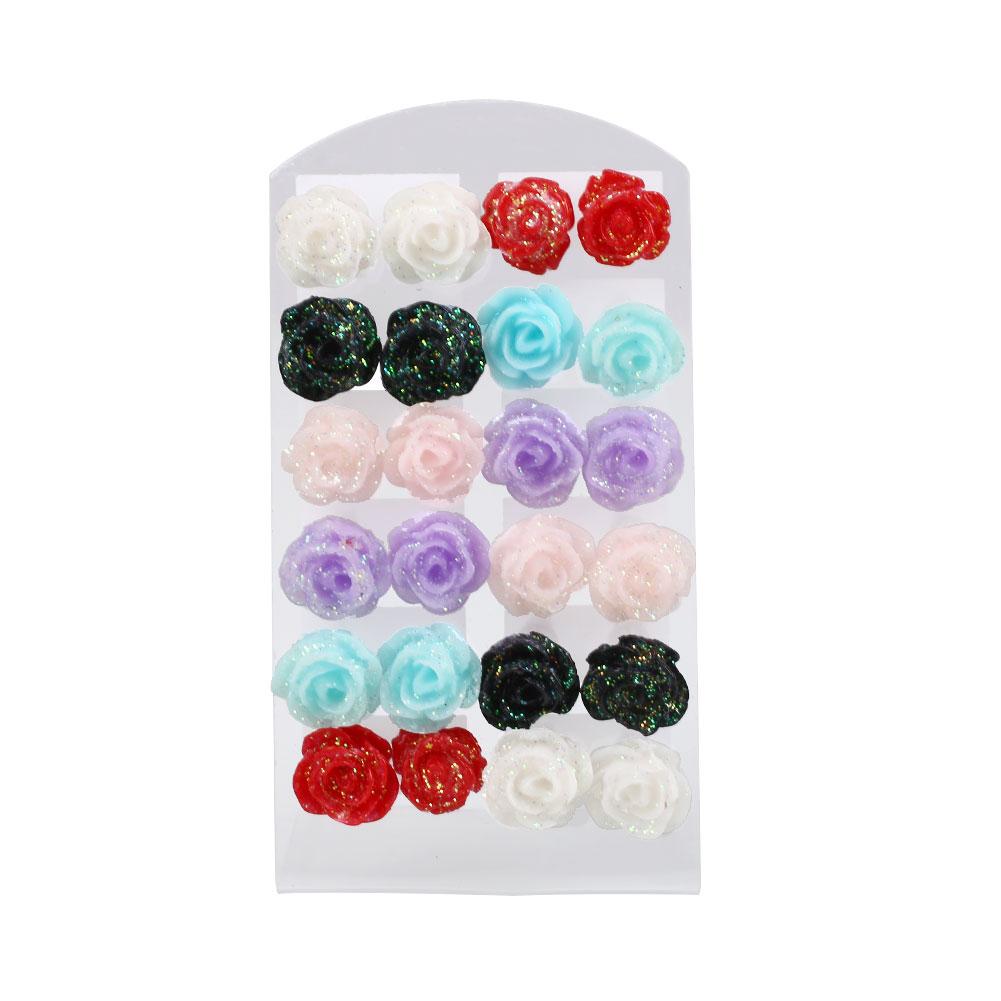0F0F-12pairs-Women-039-s-Colorful-Rose-Flower-Ear-Stud-Earrings-Jewelry-Gift-Set
