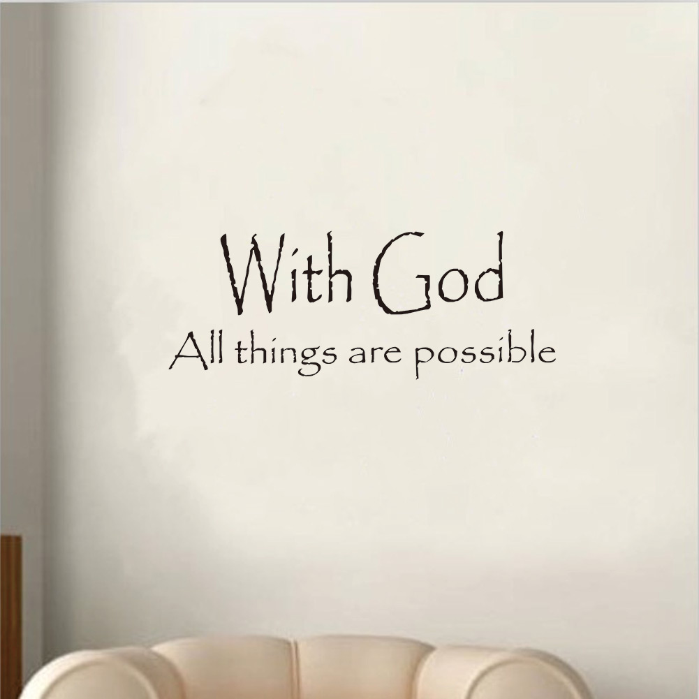 Vinyl with god all things are possible quote letter wall for Decoration quotation sample