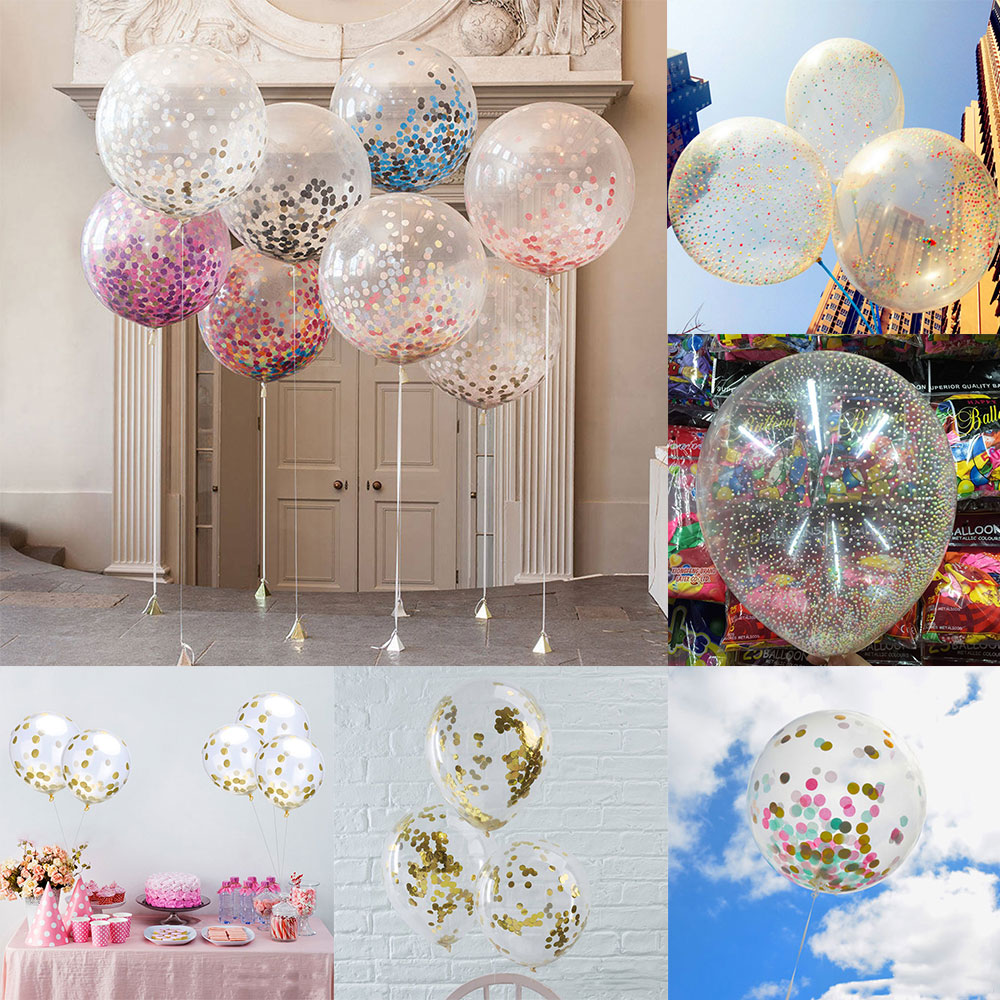 12 inch gold foil confetti latex balloons helium wedding for Balloon decoration for wedding malaysia