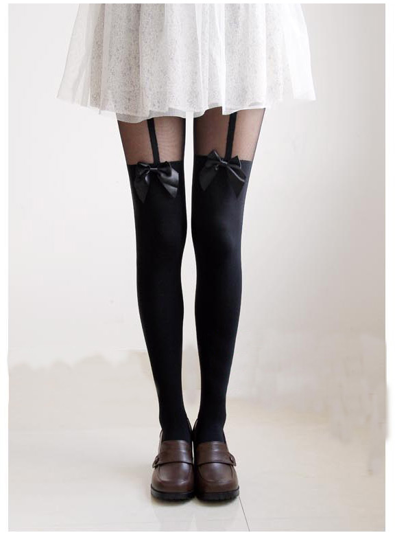 Ladies Sheer Bowknot Mock Suspender Tattoo Tights Pantyhose Stockings Leggings