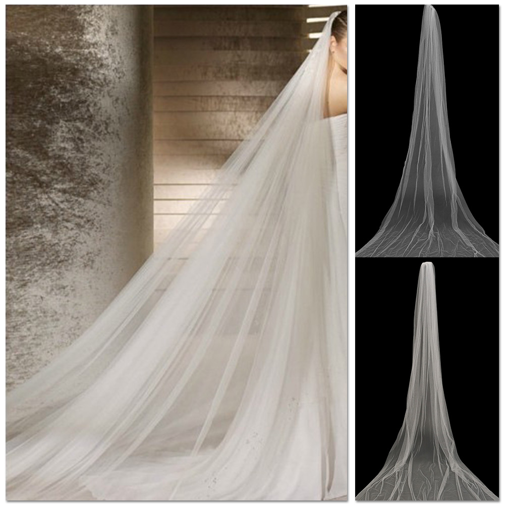 Hot elegant white beige cathedral bridal accessories for Long veil wedding dresses