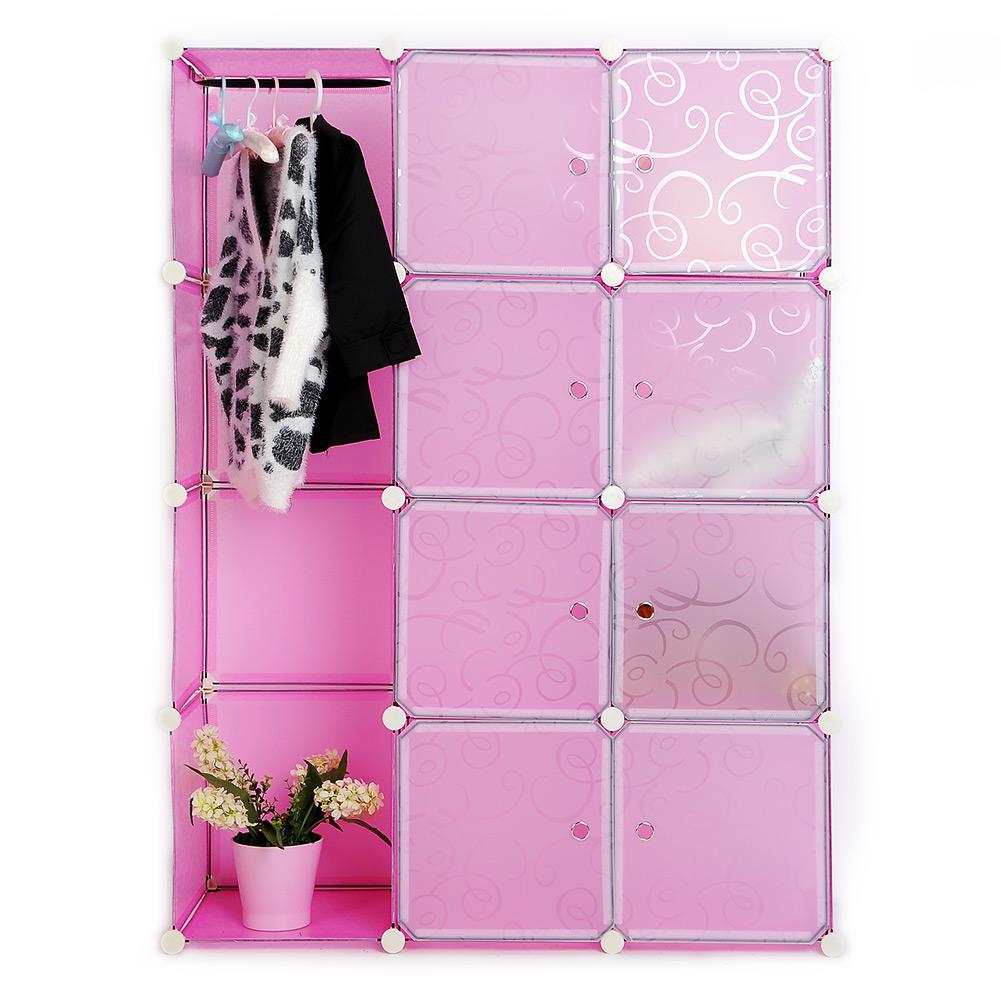 Diy armoire portable tag re de rangement chaussures penderie 12 cubes rose - Systeme de rangement vetement ...
