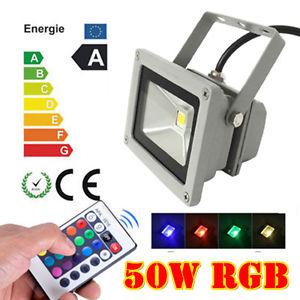 50w lampe rgb led spot projecteur ext rieur eclairage for Eclairage exterieur avec commande a distance