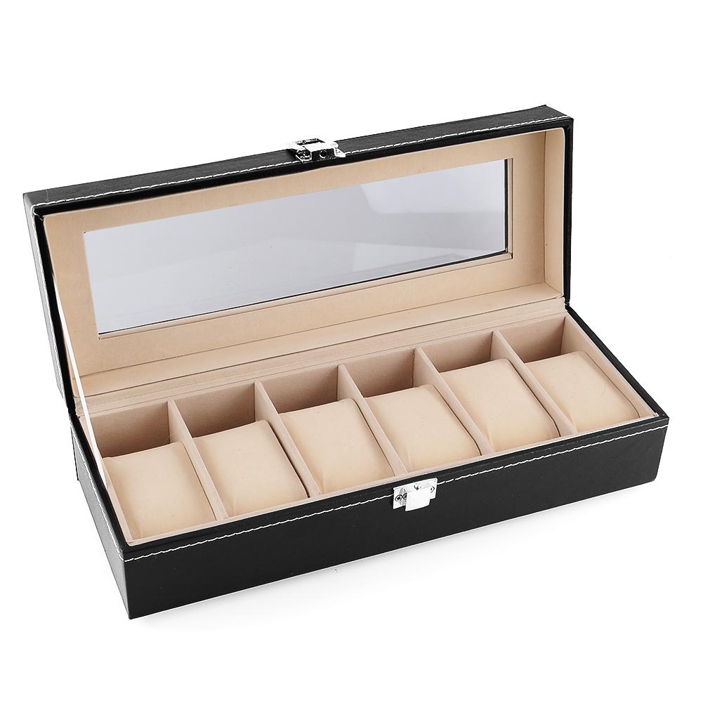 pr sentoir coffret bo te montre rangement pour 6 montres avec vitre ebay. Black Bedroom Furniture Sets. Home Design Ideas
