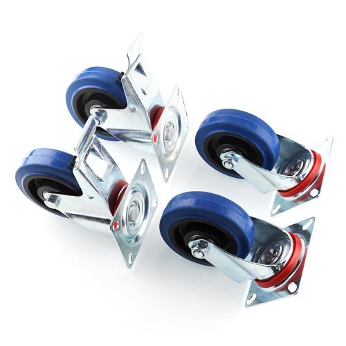 4 psc blue wheels lenkrollen feststeller 100mm. Black Bedroom Furniture Sets. Home Design Ideas