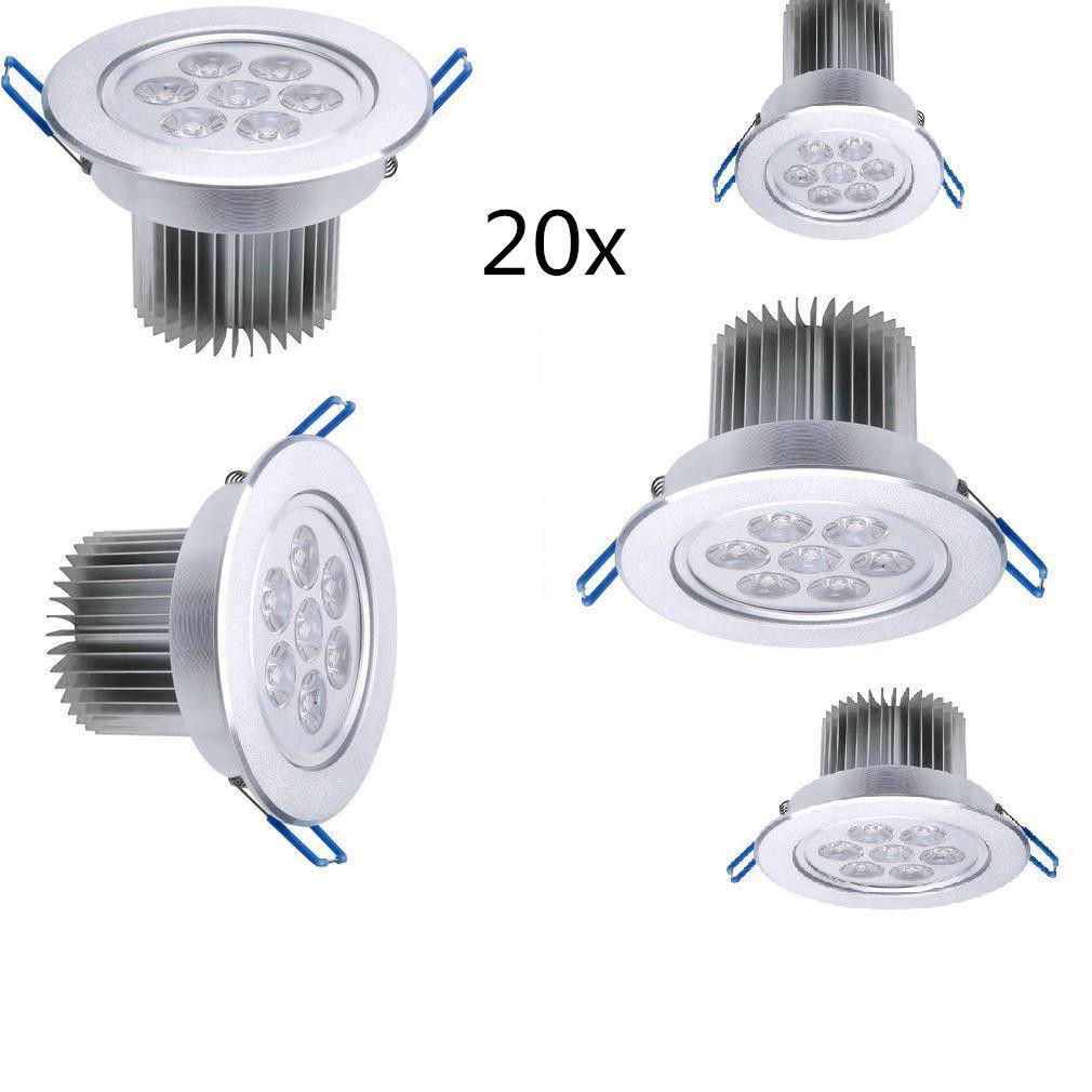 lot 20pcs 7w led spot encastrable plafond plafonnier ampoule led blanc froid ebay. Black Bedroom Furniture Sets. Home Design Ideas