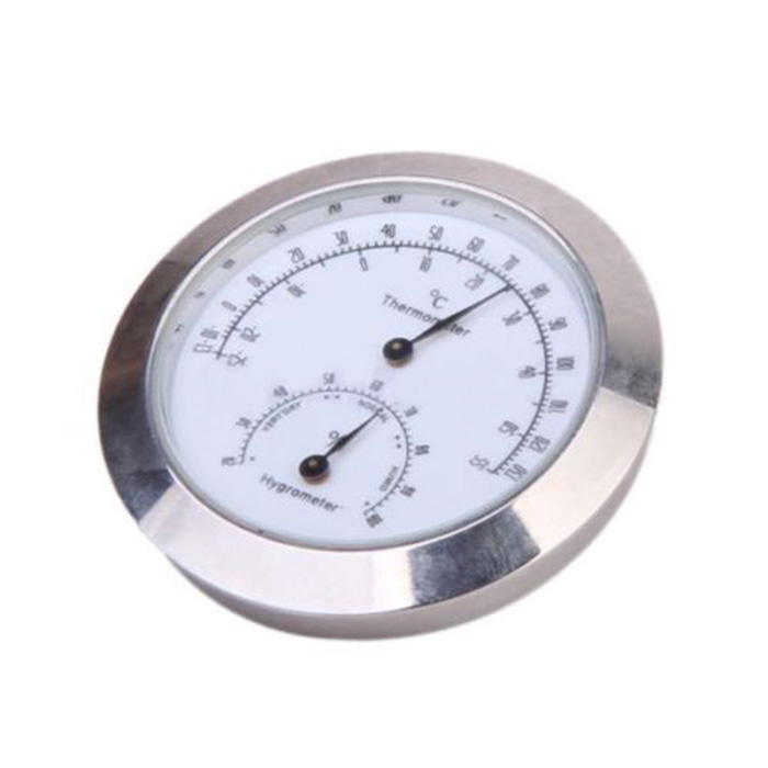 C421 776E 4827 Alloy Thermometer Hygrometer Thermometer Case Silver Guitar for
