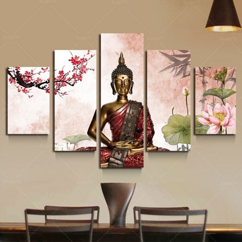 ED9E-5Pcs-lot-Abstract-Buddha-Canvas-Wall-Art-Painted-Oil-Painting-Home-Decor