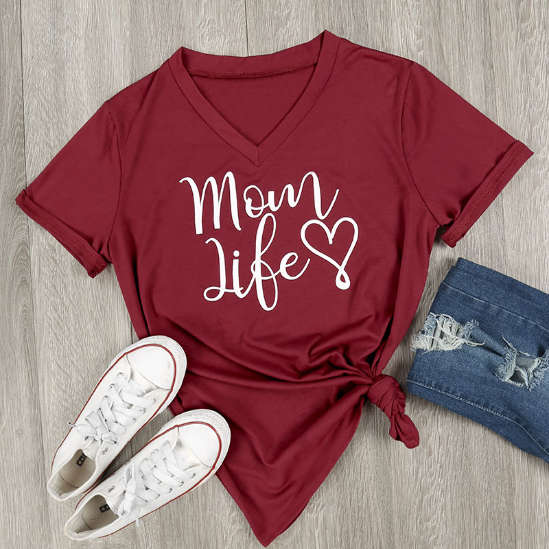 800E-Womens-Mom-Life-Short-Sleeve-Tops-V-Neck-Clothes-Fashion-Blouse-T-Shirts