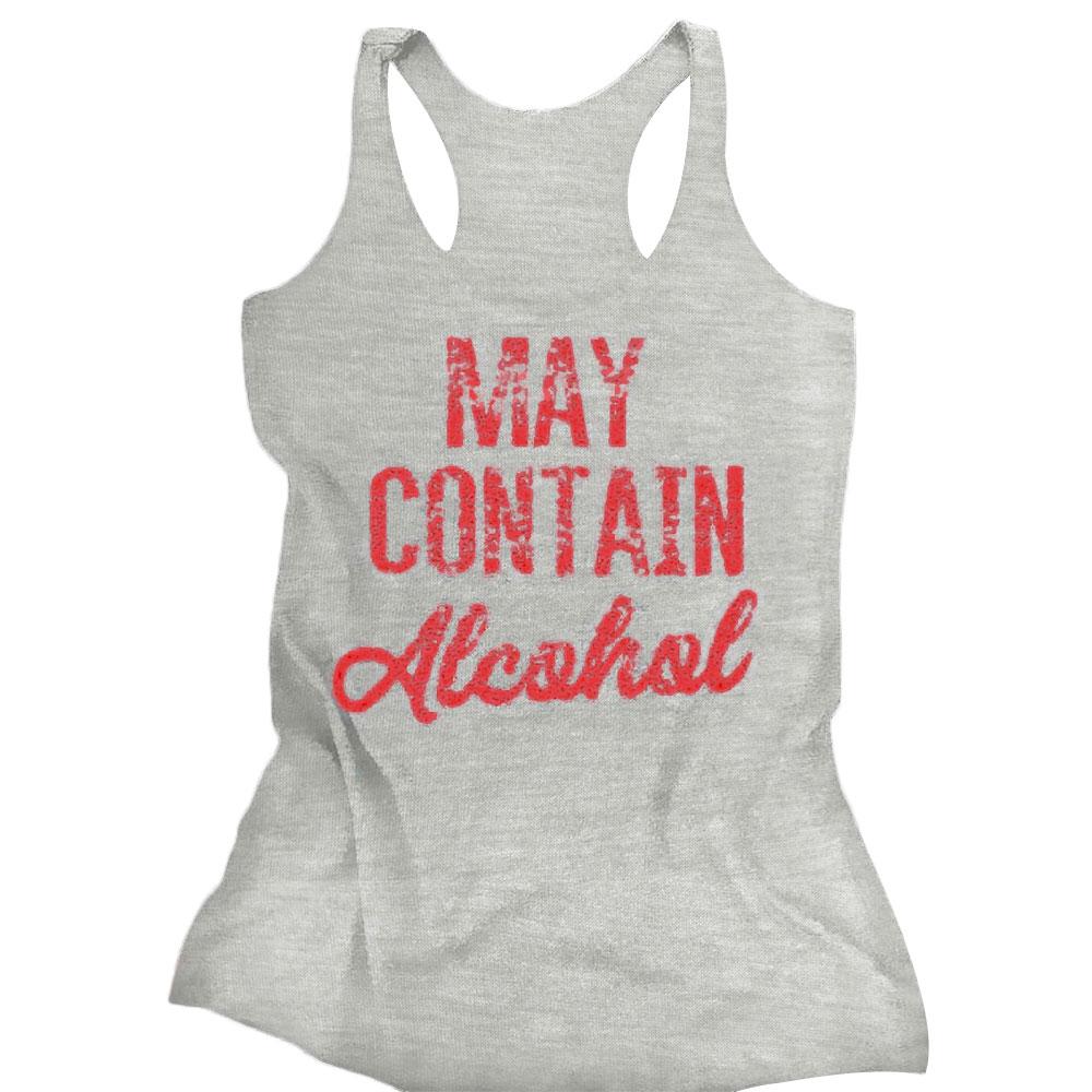 0E1B-MAY-CONTAIN-ALCOHOL-Print-Sleeveless-O-Neck-Tank-Top-Loose-T-Shirt-L-white