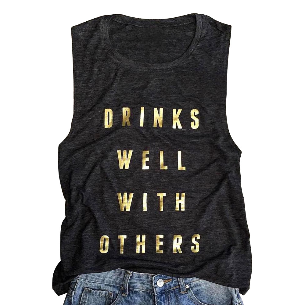 45B5-Women-Ladies-Summer-Drinks-Well-With-Others-Letter-Printed-Slim-Tank-Tops