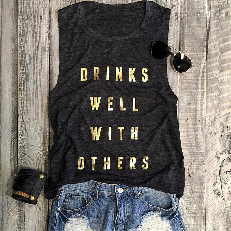 9987-Women-Ladies-Summer-Drinks-Well-With-Others-Letter-Printed-Slim-Tank-Tops