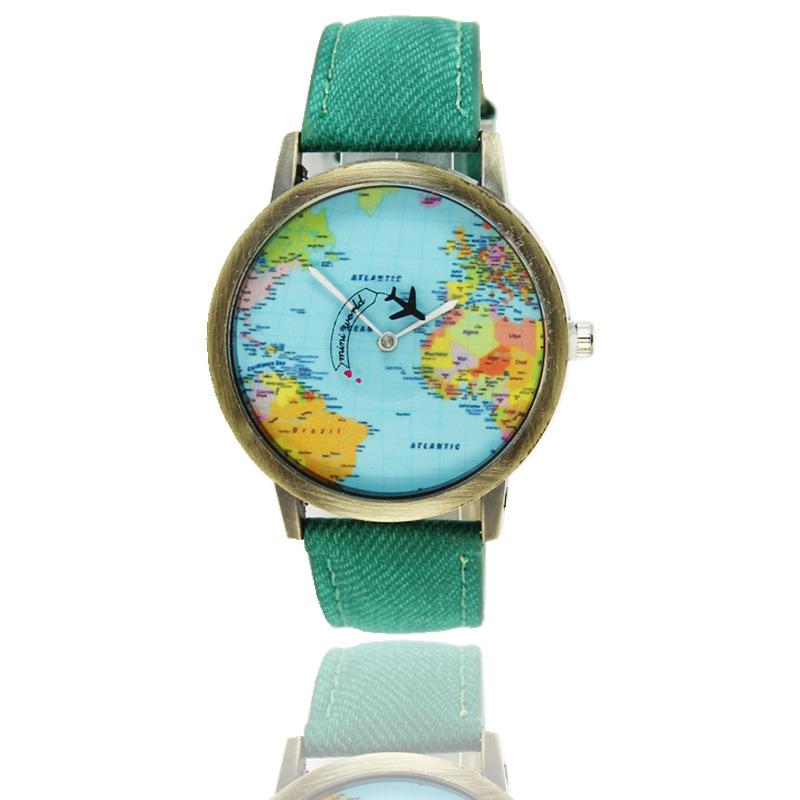 221D-World-Map-Watch-Wristwatch-Quartz-Watch-Fabric-Watchband-Colorful-Unisex
