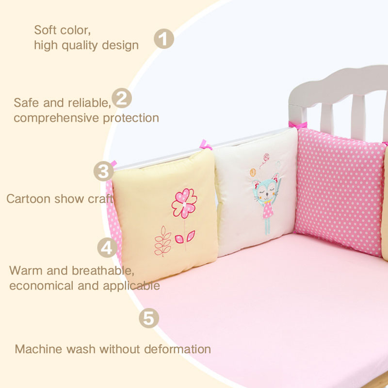 8805-6Pcs-Set-Baby-Crib-Cot-Bumper-Cushion-Infants-Bedding-Safety-Breathable