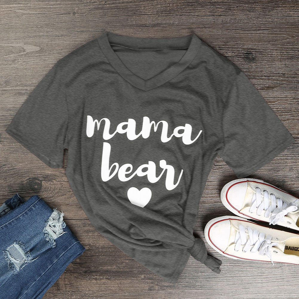 549E-Womens-V-Neck-Funny-Letters-Printed-Basic-T-Shirts-Loose-MAMA-BEAR-Tops