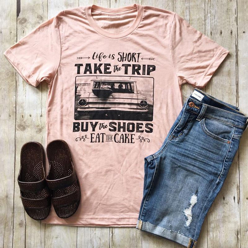 1B85-Women-039-s-Take-The-Trip-Tee-Summer-Casual-Tops-Short-Sleeve-Blouse-T-shirt