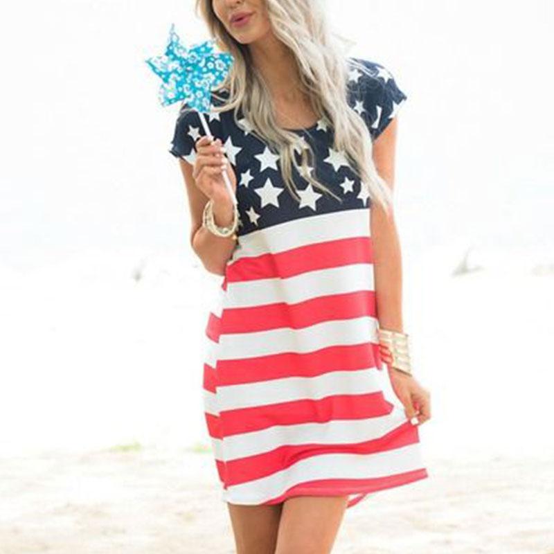 B5F1-American-Flag-Printed-Short-Sleeve-Mini-Dress