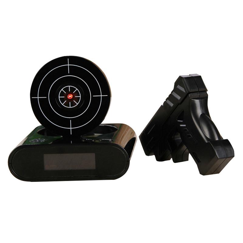Gun Alarm Clock Target Wake Up Shooting Game Toy Novelty: Target Shooting Clock Digital Gun Toy Gift Wake Up USB