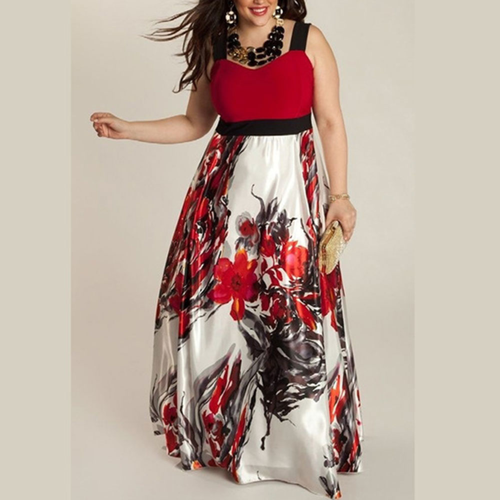 AA7F-Plus-Size-Women-Lady-Floral-Splicing-Harnesses-Cocktail-Long-Maxi-Dress