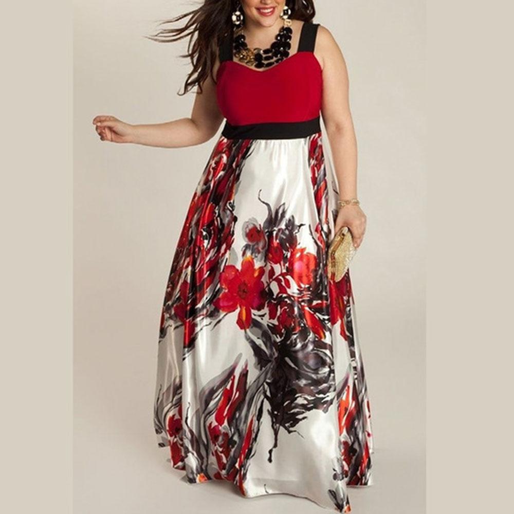4180-Plus-Size-Women-Lady-Floral-Splicing-Harnesses-Cocktail-Long-Maxi-Dress