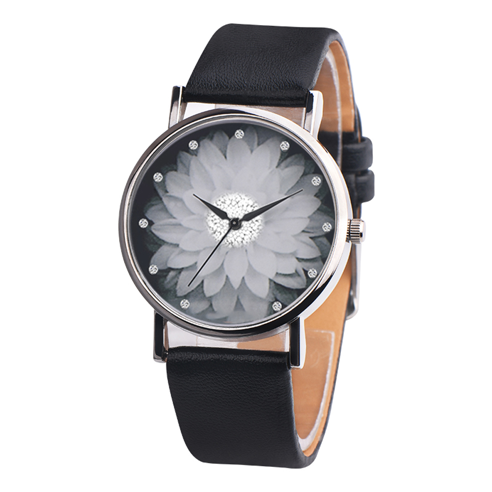 OKTIME-Women-039-s-Casual-Canvas-Flower-Print-Leather-Analog-Quartz-Wrist-Watch-E948