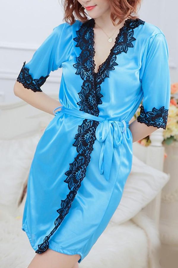 CCF8-Hot-Sexy-Lady-Women-Satin-Lace-Robe-Sleepwear-G-string-Pajamas-One-Size