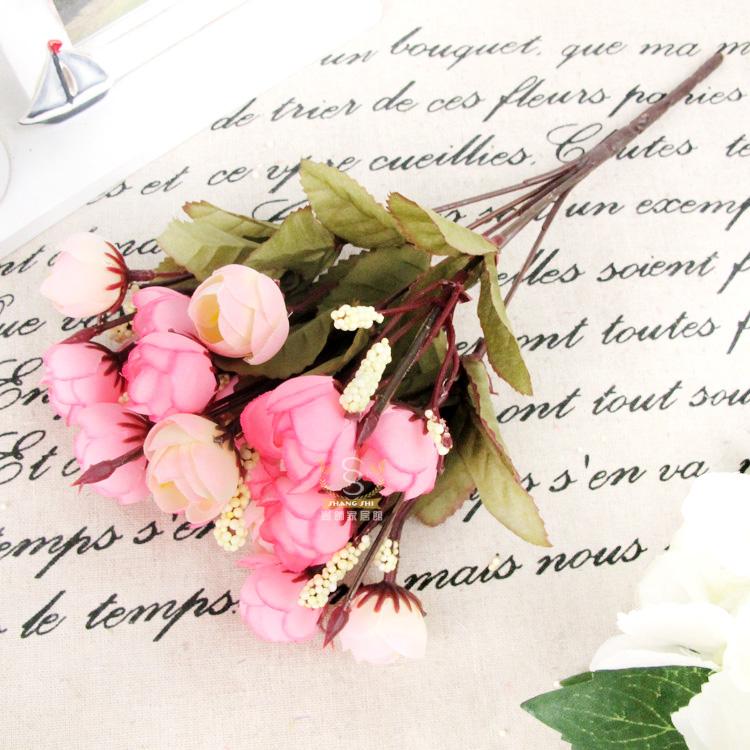 83DC-Artificial-Orange-Silk-18-Flowers-Heads-Camellia-Peony-Hydrangea-Decor