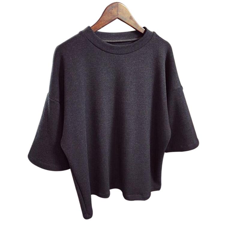 9E1C-New-Korean-Women-Ladies-3-4Sleeve-Blouse-Tee-Party-Loose-T-Shirt-Tops